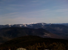 Looking north towards the Presidentials, still snow covered.