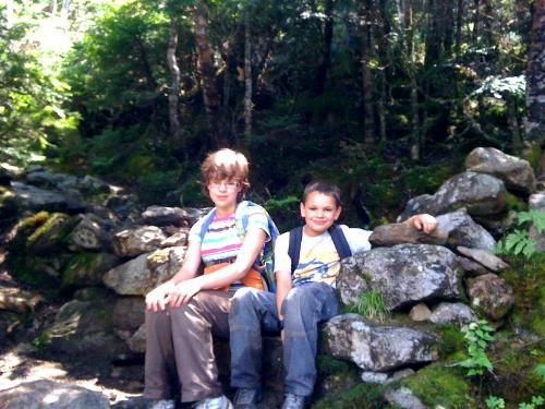 "The children at the ""stone gate"", 2.2 mi. from the trailhead."