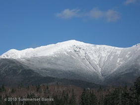 A close-up of the snow filled ravines and summit of Mt. Lafayette