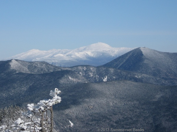A view to the snow capped Presidentials from Mt. Osceola.