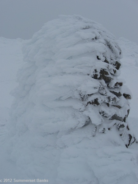 Jefferson's giant cairn, heavily rime-iced.
