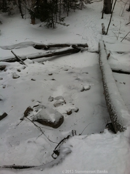Stream crossing on Dicey's Mill Trail with better consolidated ice.