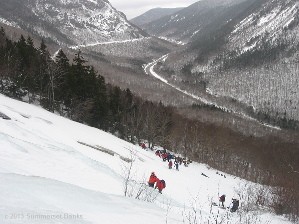 Day two's climbing location, Willey Slide in Crawford Notch.