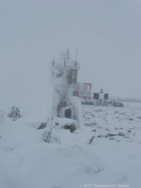 The observatory tower, encased in rime and snow.