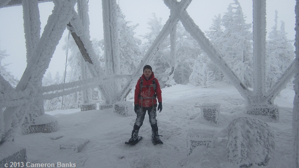 At the summit of Cannon, #1 for Cameron in winter.