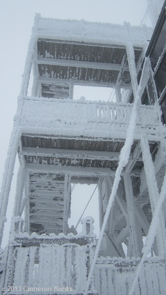 The tower was covered with rime ice.