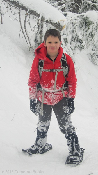 Cameron had lots of fun plowing through and sliding down the snow on the descent.
