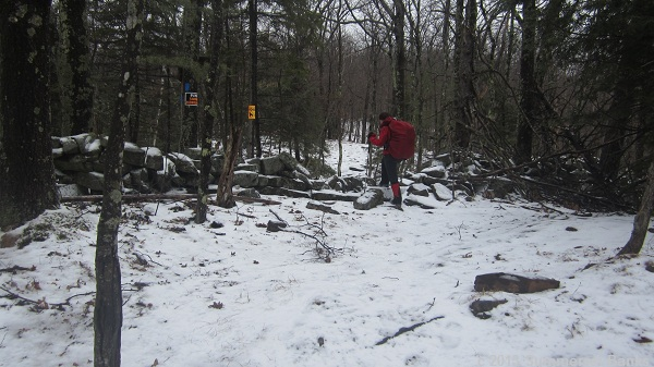 On the way back, crossing over the stone wall again.