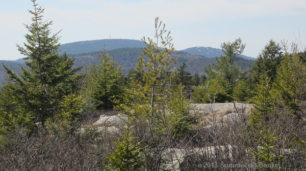 A look back across the Belknaps to Belknap and Gunstock, summits we had visited on previous trips.