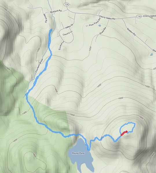 Our route for the day.  The small bit in red is the section we bushwhacked down to the trail from the summit of Klem.  It wasn't very long, maybe 5 minutes and very easy to do.