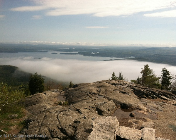 A little undercast over the lake as seen from the summit of Mt. Major.