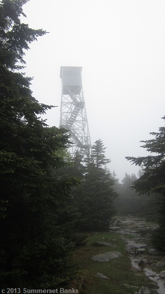 Fire tower on Stratton Mt.  It was too cold and windy to climb it, so we passed on without any views.