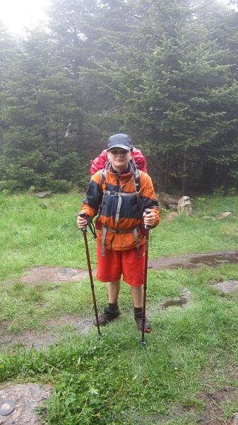 Cameron in the rain on Stratton Mt.