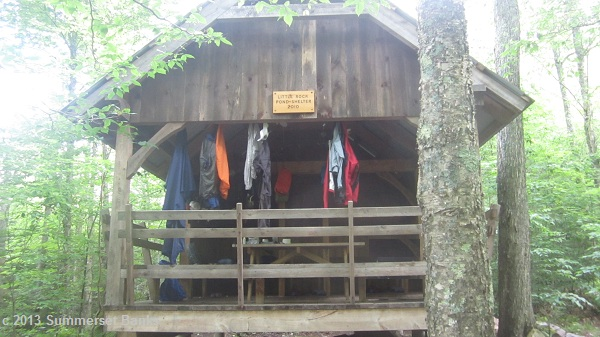 Little Rock Pond Shelter, nice to see right as the rain started.