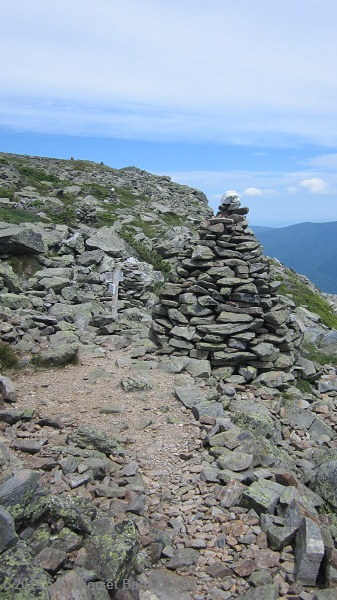 Looking back to the giant cairn at the top of the ravine.