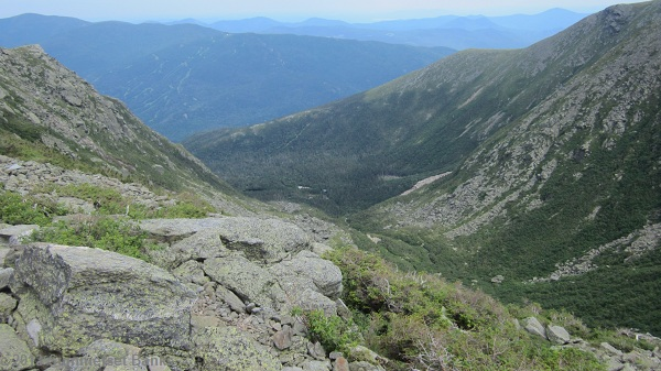 View down into Tuckerman's Ravine and to the Hermit Lake Shelter complex.