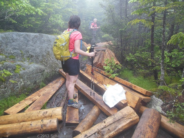 Recent drop-off of timber and nails (in the white bag) for new bog bridges on the ridge between North and South Hancock.