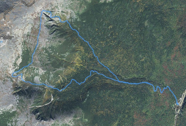 Map of the loop hike through Huntington's Ravine, the Alpine Garden and Tuckerman's Ravine.