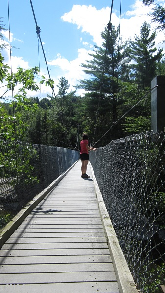 On the suspension bridge over the Lamoille River.