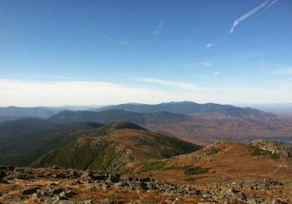 Views out toward the southern Presidentials and beyond, even to Franconia Ridge.