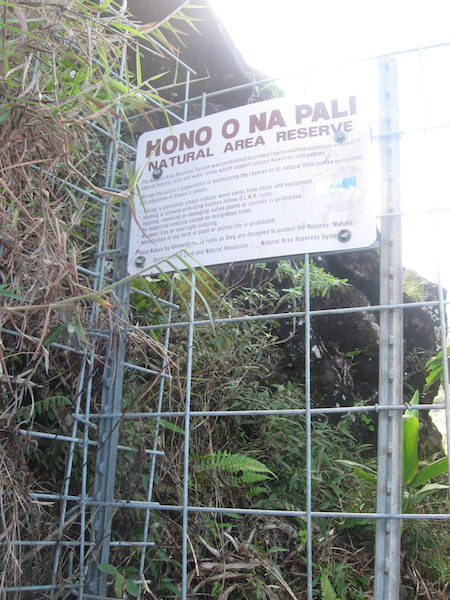 At the three mile mark, you pass beyond this fence into the Hono O Na Pali Reserve.