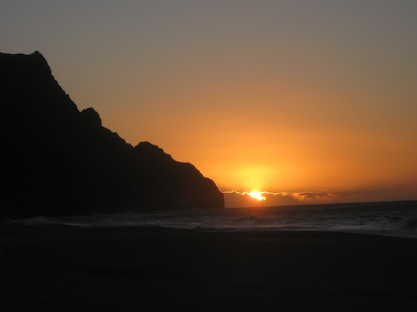 Sunset at from the beach at Kalalau