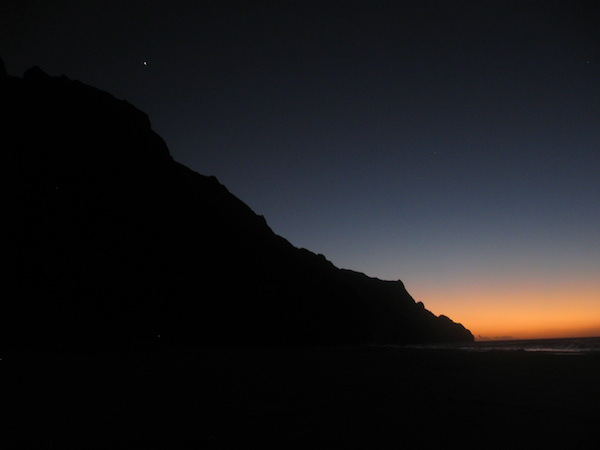 Last light of the day.  We could see Venus; it looks like a white speck in the photo just above the ridge, about half way up.
