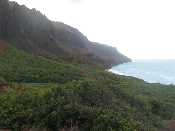 From the base of Red Hill, the view into Kalalau Valley and beach.