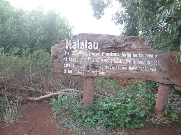 The Kalalau sign and the 10 mile mark.  It is a little less than a mile down to the beach.