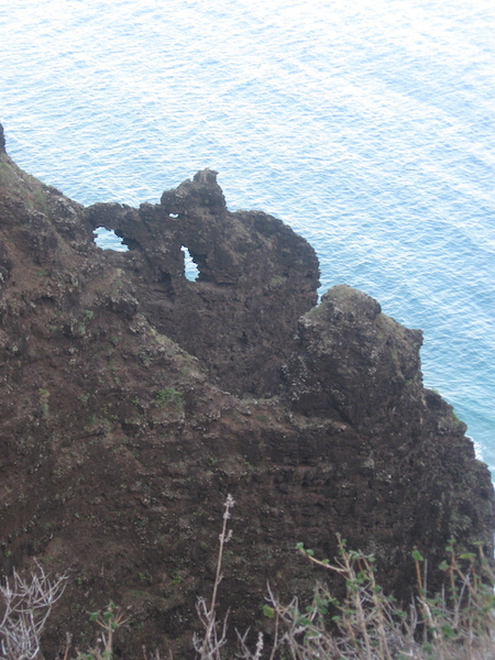 Very interesting eroded arch seen from the trail.