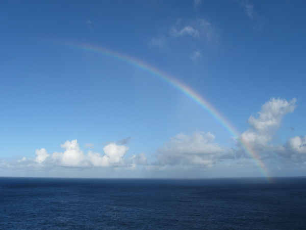Rainbow over the ocean.  Due to the many passing showers that rarely made it to us, we saw many rainbows from the trail.
