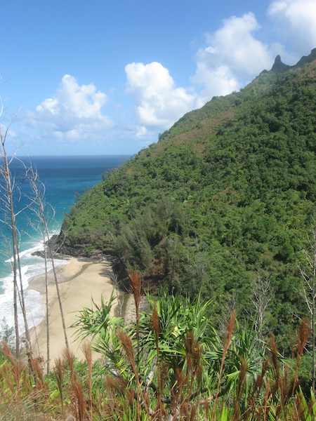 View back down to Hanakapiai Beach from a lookout along the trail.