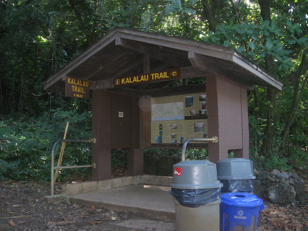 Kiosk at the start of the Kalalau Trail.