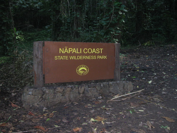 Sign at the entry of the Napali Coast State Park, where the Kalalau Trail is located.