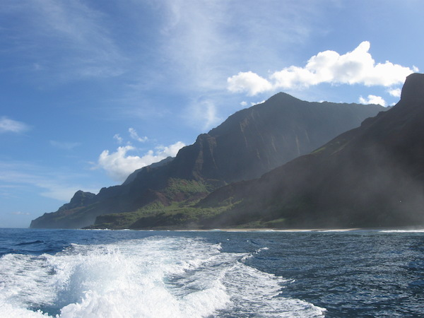 Look back to the Na Pali coastline and Kalalau beach, as we move past it to explore other areas by boat.