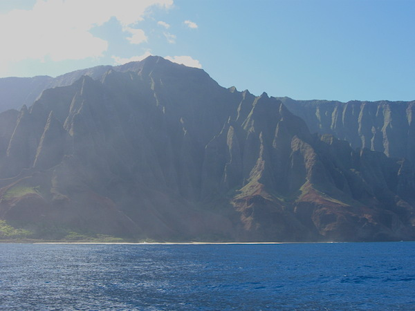 Direct view to Kalalau Beach as seen from the boat tour on the Pacific Ocean.