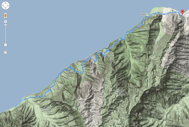 Our track along the Kalalau Trail on the north coast of Kauai, Hawaii.