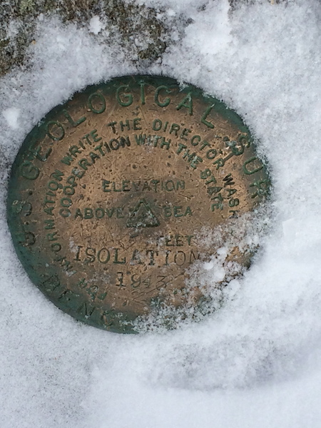 USGS marker at the summit of Isolation.