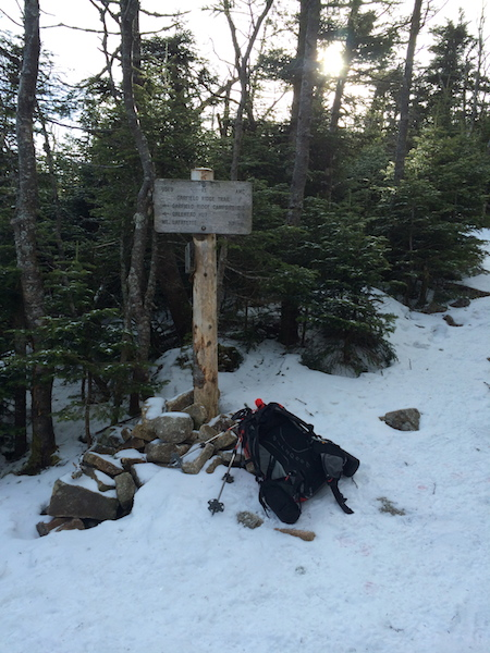 Junction with the Garfield Ridge Trail.  Note the lack of snow and that the rocks at the base of the sign are showing.