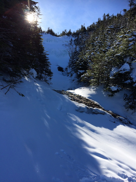 Higher up the trail at the water crossing above some of the slabs, the cascades are frozen over.