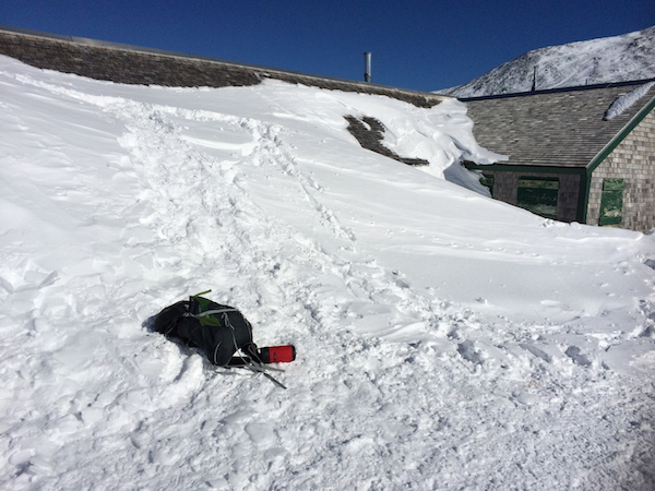 Lake of the Clouds Hut.  The front door is through that snow bank.  I was able to walk right up to the top of the roof and look around!