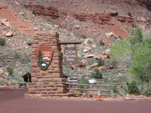 Entrance to Zion National Park near Springdale, UT.