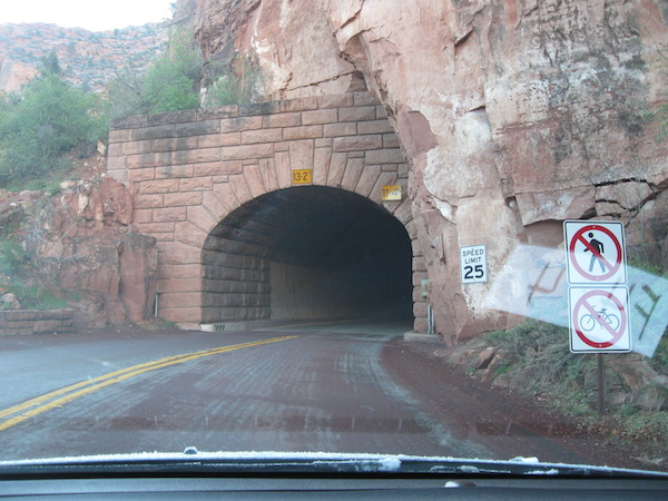 Into the Zion-Mt. Carmel Tunnel!