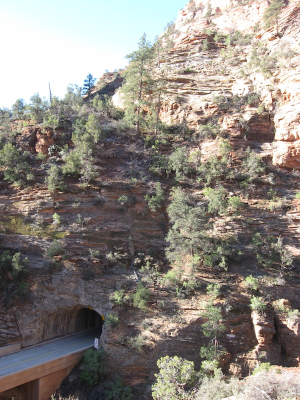 Exit of the tunnel, as seen from the Canyon Overlook Trail.