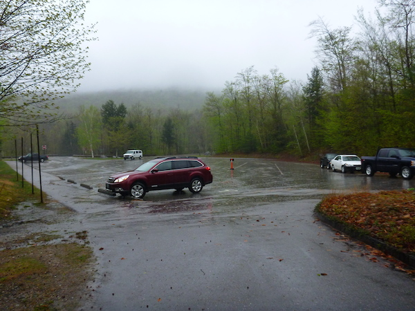 Dismal weather at the Flume Visitor Center, where we dropped off a bicycle.