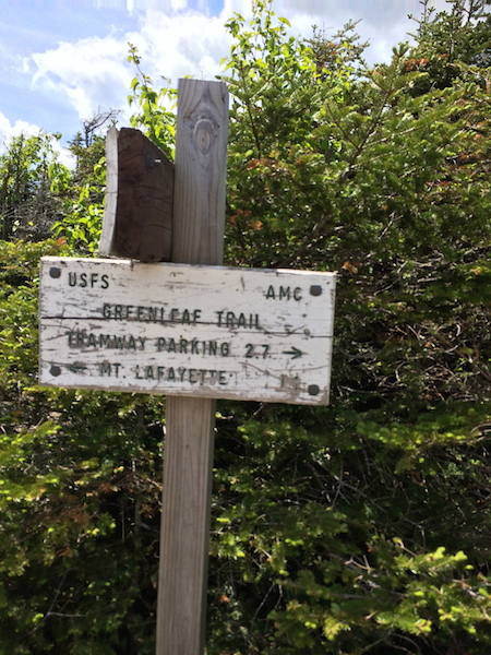Greenleaf Trail sign at Greenleaf Hut, the route less traveled.
