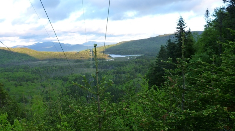 Look back to Gordon Pond, Moosilauke and other peaks from the power lines, about half way between the Reel Brook junction and the Eliza Brook Shelter spur.
