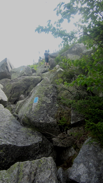 The trail to Pamola Caves is just off of the Dudley Trail.  This is part of the Dudley Trail, a fun section of boulder climbing!