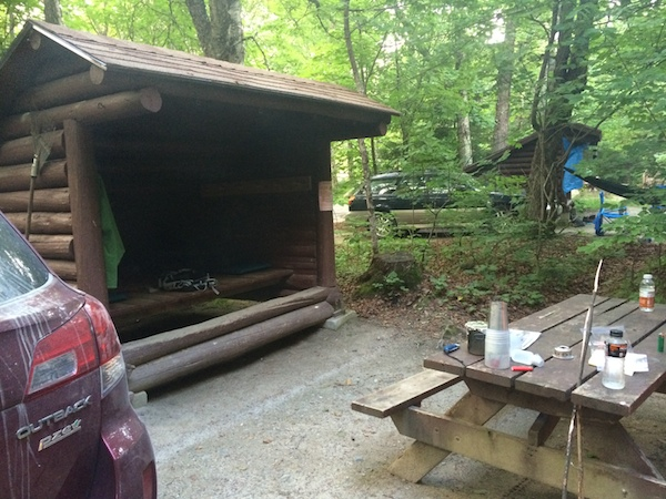 Our lean-to at Katahdin Stream Campground, which was came complete with a picnic table and fire ring.