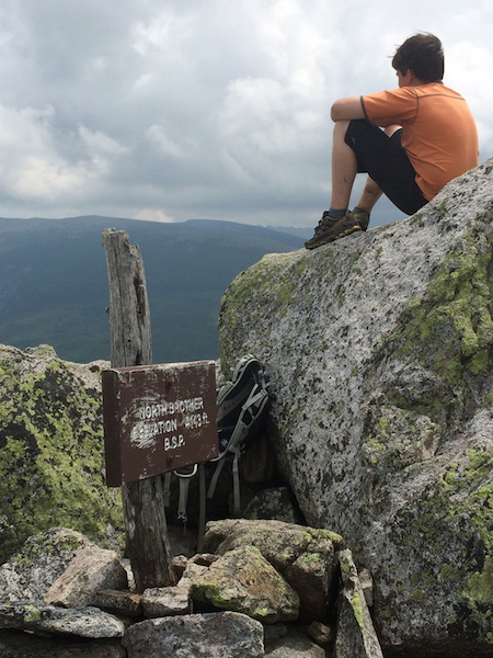 Cameron on North Brother, taking in the views toward Katahdin.